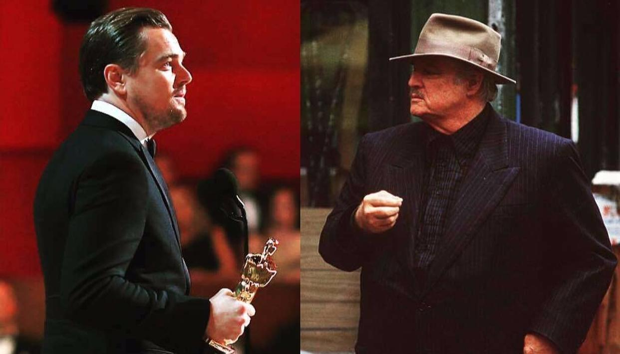 Image result for dicaprio and Marlon Brando's Oscar